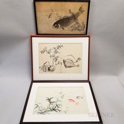 Three Drawings of Fish and Reeds
