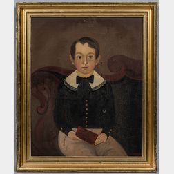 William Kennedy (Maryland/Massachusetts/New Hampshire, 1817-1871)      Portrait of a Boy Seated on an Empire Sofa with a Red Book