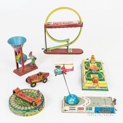 Six Lithographed Tin Toys