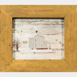 American School, 19th Century      Portrait of a Farmhouse in Winter