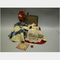 Small Trunk and 1890s Wardrobe for a Girl Doll