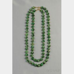 Two Carved Chinese Nephrite Jade Bead Necklaces