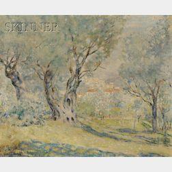 Frederick Carl Frieseke (American, 1874-1939)      Olive Trees, Cagnes