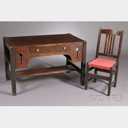 Arts & Crafts Desk with L. & J.G. Stickley Side Chair