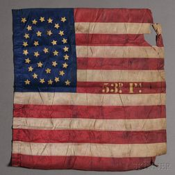 Civil War Pennsylvania 53rd Regiment Pieced and Gilt-stenciled Silk American Flag
