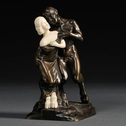 After Peter or Paul Tereszczuk (Austrian, Late 19th/Early 20th Century)       Bronze and Ivory Figure of a Satyr and a Faun