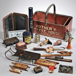 """MOTHER'S/KOFFEE HOUSE"" Advertising Basket and Assorted Contents"