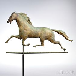 Molded Copper and Cast Iron Ethan Allen Running Horse Weathervane