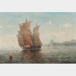 Paul Jean Clays (Belgian, 1819-1900)      Vessels in a Harbor