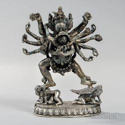 Silver Alloy Sculpture of Chakrasamvara