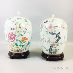 Two Famille Rose Porcelain Covered Jars
