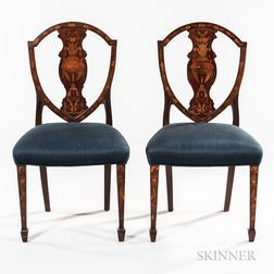 Set of Six Georgian-style Marquetry Mahogany Side Chairs