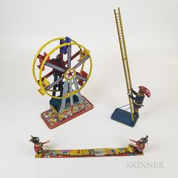 Three Lithographed Tin Wind-up Toys