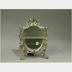 Art Nouveau Style Silvered Cast Metal Table Mirror.