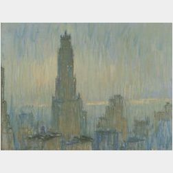 William Samuel Horton (American, 1865-1936)  Ritz Tower, Rain