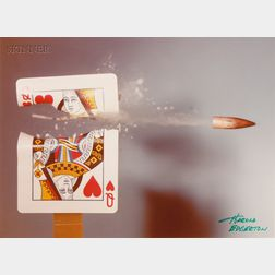 Harold Eugene Edgerton (American, 1903-1990)      30 cal Bullet Cuts a Card  /Cutting the Card Quickly