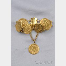 British Gold Sovereign and High-karat Gold Bracelet