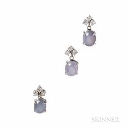 14kt White Gold, Star Sapphire, and Diamond Earrings and Pendant