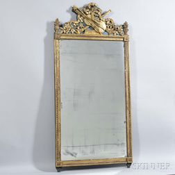 Neoclassical-style Carved and Painted Giltwood Mirror