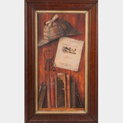 American School, 20th Century    Homage to Sherlock Holmes, A Trompe l'Oeil Painting