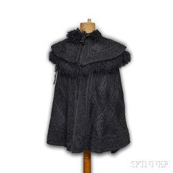 Victorian Black Wool and Persian Lamb Capelet