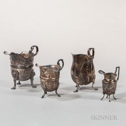 Four Sterling Silver Creamers