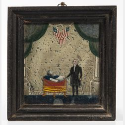 Reverse Painting on Glass Depicting George Washington