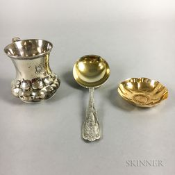 Tiffany & Co. Sterling Silver Mug, Tiffany & Co. Vermeil Floral Bowl, and a Gorham Sterling Silver Serving Spoon
