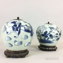 Two Celadon-ground Blue and White Jars