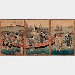 Utagawa Sadatora (fl. 1830-1845), Triptych Woodblock Print
