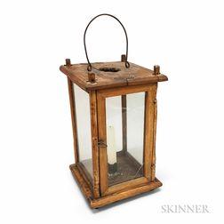 Early Glazed Pine and Chestnut Hanging Lantern