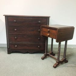 Three Victorian Spool-turned Beds, a Worktable, and Bureau.     Estimate $200-400