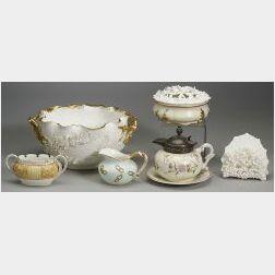 Six Lotus Ware Porcelain Items