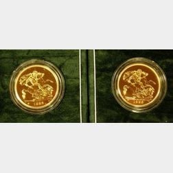 1992 and 1993 United Kingdom £ 5 Brilliant Uncirculated Gold Coins