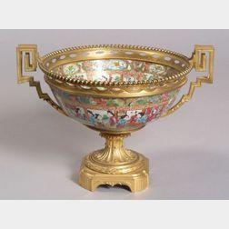 Ormolu Mounted Chinese Rose Mandarin Porcelain Bowl