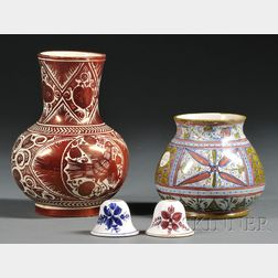 Four Cantagalli-type Earthenware Items