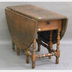 William & Mary-style Beechwood Drop-leaf Gate-leg Table.