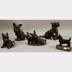 Five Painted Cast Iron Scottie Dog Doorstops