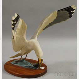 "Robert and Virginia Warfield Carved and Painted Wood ""Herring Gull""   Bird Figure"