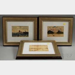 Orlando Vincent Schubert (American, 1844-1928)      Three Framed Watercolor Views of Florida: River, Beach