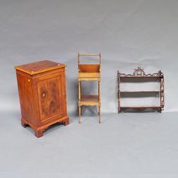George III-style Yew-wood Cabinet, a Baker Mahogany Cutlery Tray, and Mahogany Chippendale-style Wal   Shelf