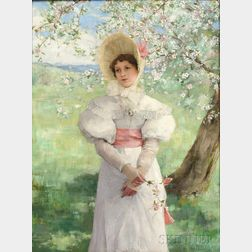 George Henry Boughton (American, 1833-1905)      Young Woman in White Beneath Flowering Branches
