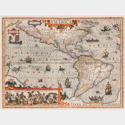 North and South America. Jodocus Hondius Jr. (1594-1629) Septentrio America.