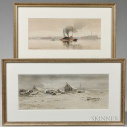 Two Framed 19th/20th Century American Watercolors:      Hendricks A. Hallett (1847-1921), Barge and Tug in an Urban Harbor