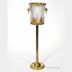 Baccarat Bronze-mounted Crystal Pointe de Diamants Ice Bucket with Lions Head Handles and Pedestal, France, c. 1890s, no visi...
