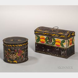 Painted Tin Document Box and Round Box