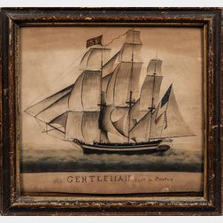 American School, Early 19th Century      Ship Gentleman built in Boston