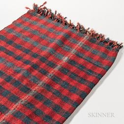 Blue and Red Wool Woven Coverlet