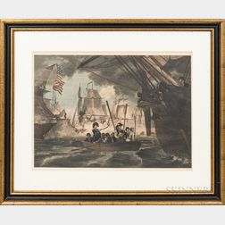 Framed William Smith Hand-colored Engraving of a War of 1812 Naval Battle Scene