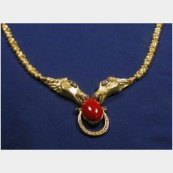 18kt Gold, Diamond and Coral Necklace